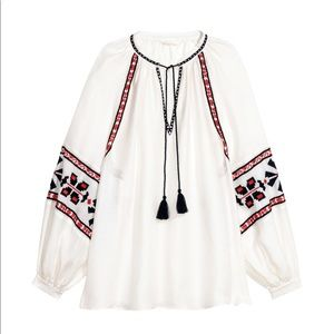H&M Boho style Wide-cut Embroidered Blouse size 10